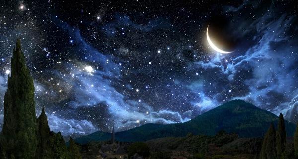 Resultado de imagen para mar luna y estrellas pintura